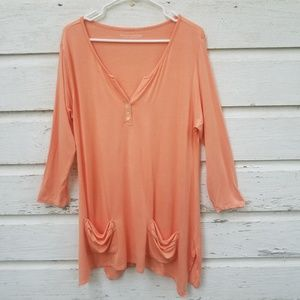 Soft Surroundings Petite Peach Tunic with Pockets